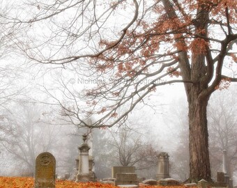 fall photography, fall print, autumn photography, cemetery, graveyard, fall, gothic, victorian 1852, 8 x 8 print