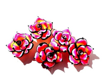 5pcs Fimo Beads Fimo Rose Beads Polymer Clay Beads Pink Yellow Rose Flower 25 mm Rose Fimo Beads Supplies