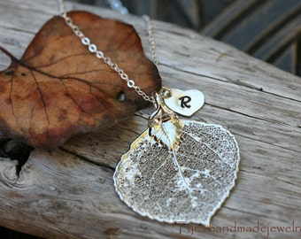 Aspen necklace,Heart necklace,Bridesmaid gifts,Fall Autumn Wedding,Personalized,Monogram necklace,Wedding Jewelry,Aspen leaf
