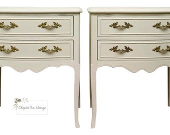 SOLD Pair of French Provincial Nightstands, Vintage French Provincial Nightstands, Hand Painted French Provincial Nightstands