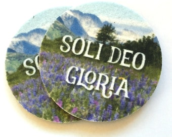 Absorbent car coasters for your car cup holder - Soli Deo Gloria - Cup Holder Auto Coasters