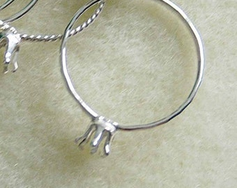 SALE - 5 skinny stacker ring blank with 3mm prong setting - 925 sterling silver handmade to order SIZED