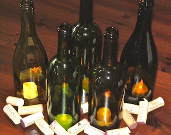 Set of 5 Hand Cut Wine Bottle Hurricane Candles