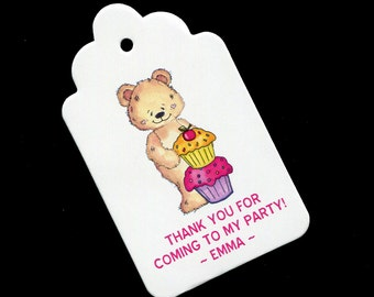 Personalized Girls Birthday Party Favor Tags - Bear With Cupcakes - Party Favor Tags - Favor Tags for Girls - Birthday Tags - Gift Tags - 25
