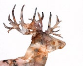 Deer Silhouette Painting ...