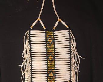 White Yellow Young Mens/ Boys Regalia - Adjustable Breastplate - Belle Star Boy - Lakota Sioux
