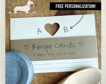 True Love. Free Personalization. A Baker's Dozen (Qty 13) Set of 4x6 Recipe Cards -- (Initials, Wedding Gift, Heart, Bridal Shower, Custom)