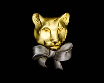 KJL Kenneth Jay Lane Panther with Bow Brooch