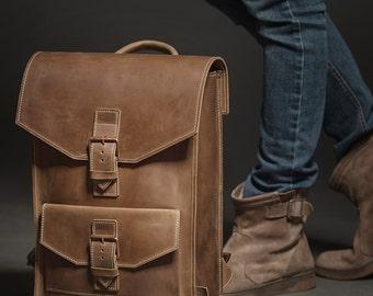 LEATHER BACKPACK BROWN, Leather backpack men, Leather backpack laptop, Leather backpack vintage, Rucksack backpack, Backpack large