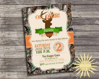 Camouflage Hunting Birthday Party Invitation - Deer Head - Digital File