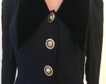 70s Lori Weidner Evenings Dress with Gold Buttons