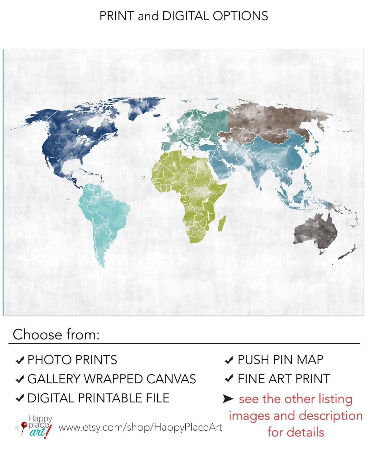 Green and blue world map watercolor texture world map poster zoom gumiabroncs Images