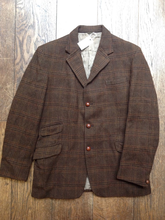 """Vintage brown checked tweed plaid wool sports jacket double vent mod Ivy League style 40"""" chest tailored"""