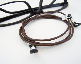 Chain for Glasses, 2mm Leather Cord, Eyeglass Chain, Black, Brown, Antique Tan 24-36 inch Length, Eyeglass Necklace Holder