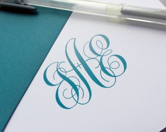 Personalized Stationery Set - Monogrammed Thank You Notes - Traditional Script Monogram - Personalized Stationary