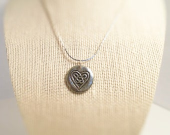 Necklace Heart, Celtic design / Love. Pendant.  Celtic heart. Hand stamped both sides.