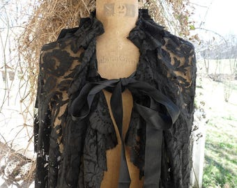 Antique French Victorian Mourning Cape, Black Chantilly Cape, offered by RusticGypsyCreations