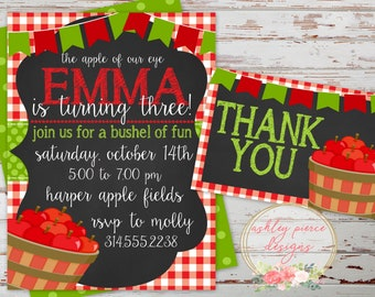 Apple Birthday Invitation   Apple of Our Eye Invitation   Apple Picking Birthday   Apple Orchard Birthday   Fall Birthday Invitation