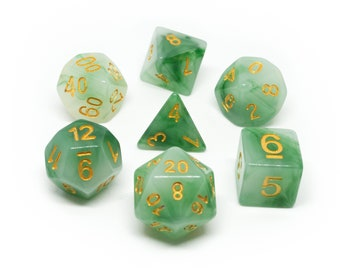 Jade Monk Dice - RPG polyhedral dice - 7 piece dice set D&D