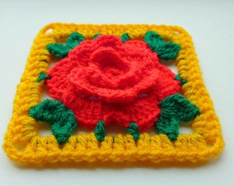 Instant Download Crochet PDF pattern - Chinese Rose in square