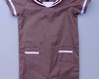 Chestnut brown and white shorts overalls - 12 months old