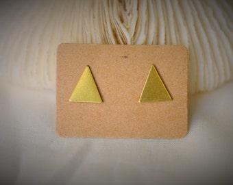 Boucle d'oreille en acier inoxydable, boucle d'oreille TRIANGLE allongé en laiton blanc ~ 9 mm - unisexe / Casual / minimaliste