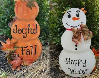 Reversible Pumpkin-Snowman Door sign