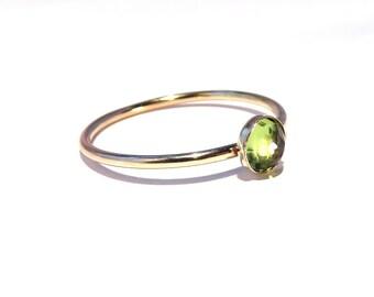 Peridot Ring, Gold Peridot Ring, Peridot Stacking ring, August Ring, Gold stacking ring, August Birthstone ring, 14k yellow goldfill Ring