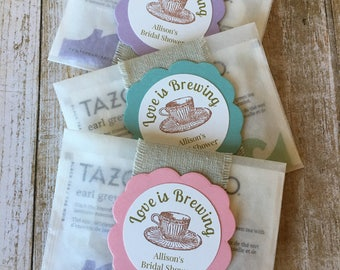 "8 ~ Bridal Shower Favors, Bridal Shower Tea Bag Favors, ""Love is Brewing"" Bridal Shower Favors, Glassine Bags"