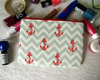 Zippered pouch with chevrons and anchor, makeup bag, phone case, purse, nautical motive
