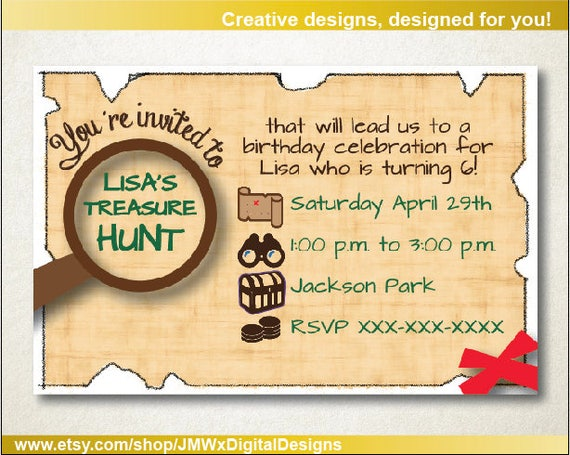 Treasure hunt invitation scavenger hunt birthday party like this item filmwisefo Images
