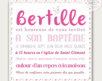 Christening or birth Bertille liberty customize invitation
