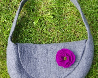 Hot pebble grey felted handbag with purple flower - shoulderbag - purse