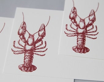 Lobster Note Cards Stationery Set, Wedding Guest Book Alternative, Beach Wedding Thank You Cards, Beach Stationery, Destination Event