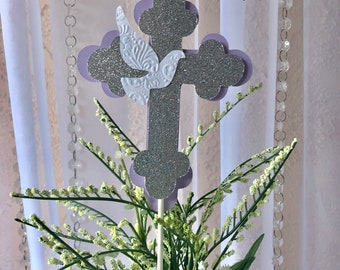 Cross centerpieces stick/ Cross Baptism / White  and Gold Cross/lavender and silver  Cross/3 Cross centerpieces stick