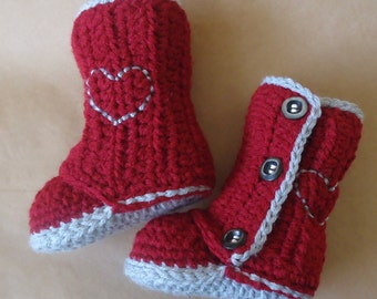 Baby Wrap Boots, Baby Girl Uggs, Hearts boots, Wrap around boots, Button up boots, baby girl booties crochet, Shoes, 0-6 or 6-12 months size