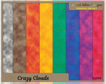 Cloud Pattern, Swirled Pattern, Crazy Clouds, Digital Scrapbook Background Paper