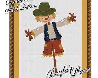 Cross Stitch Pattern, Cute Autumn Scarecrow, modern, Instant download digital PDF, Cute