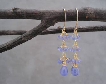Tanzanite Earrings - Dangle Earrings -Birthstone Jewelry - December Birthstone  - Gold - Chandelier - Tanzanite