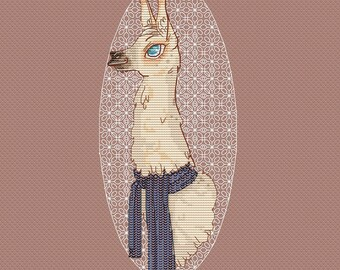 Llama in scarf counted cross stitch pattern llama instant download pdf pattern llama cross stitch animal pattern room decor embroidery