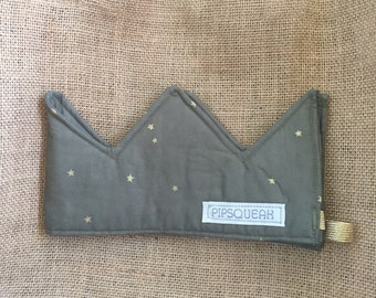 Olive gold star padded crown