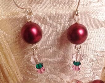 Cranberry Strawberry Swirl Earrings