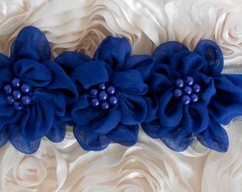 Blue Rosette Pearl Ribbon Appliques