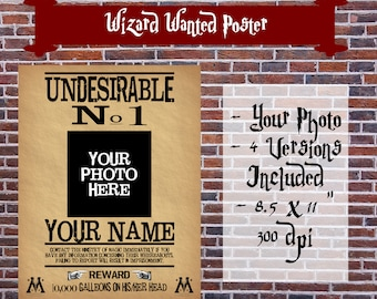 Custom Harry Potter Wanted Printable Poster - Undesirable No 1 - Hogwarts Print - Party Photo Booth Prop