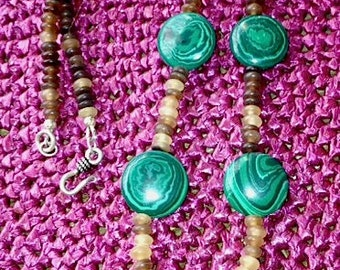 Tribal Necklace. Turtle with Malachite and Horn