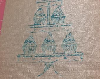 Cupcake stand birthday card