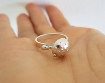 Sterling silver mushroom with gold seed ring, size 7