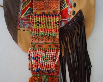 Hmong Akha Hill Tribe Textile Boho Brown Leather Fringe Patchwork Pom Pom Tassel Purse Shoulder Bag