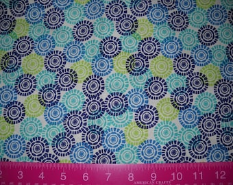 Destash- Cotton Remnant Of Blue And Green Medallion Print Fabric For Quilting Or Crafting