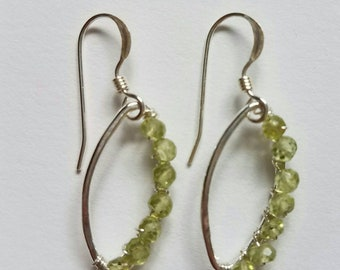 Wrapped Peridot Silver Earrings